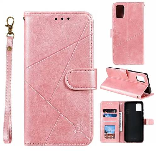 Embossing Geometric Leather Wallet Case for Samsung Galaxy A51 - Rose Gold