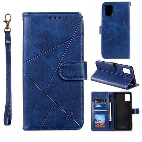 Embossing Geometric Leather Wallet Case for Samsung Galaxy A51 - Blue