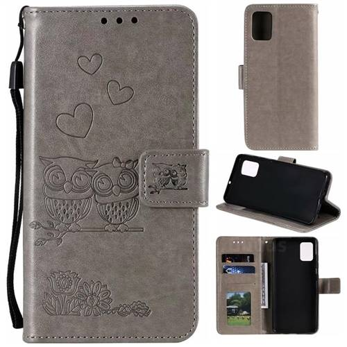 Embossing Owl Couple Flower Leather Wallet Case for Samsung Galaxy A51 - Gray