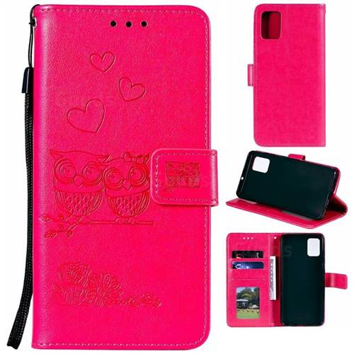 Embossing Owl Couple Flower Leather Wallet Case for Samsung Galaxy A51 - Red
