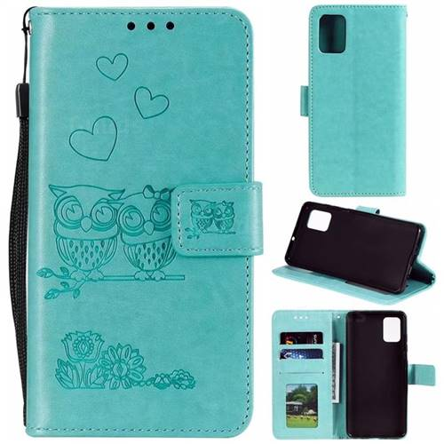 Embossing Owl Couple Flower Leather Wallet Case for Samsung Galaxy A51 - Green