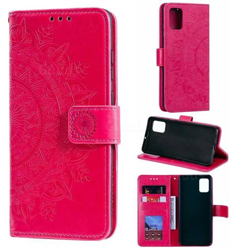 Intricate Embossing Datura Leather Wallet Case for Samsung Galaxy A51 - Rose Red