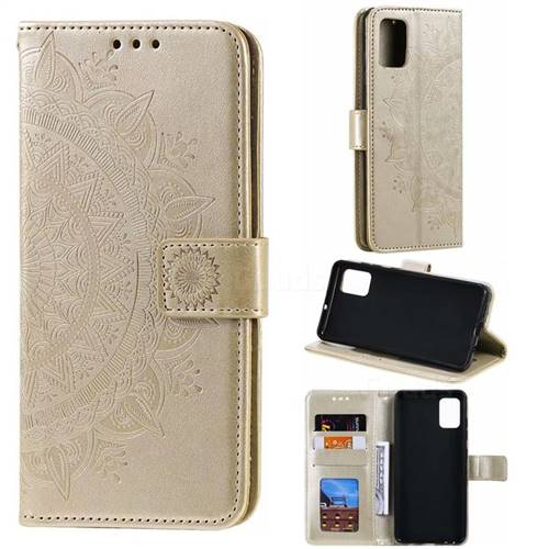 Intricate Embossing Datura Leather Wallet Case for Samsung Galaxy A51 - Golden