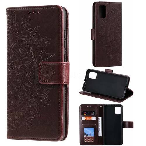Intricate Embossing Datura Leather Wallet Case for Samsung Galaxy A51 - Brown