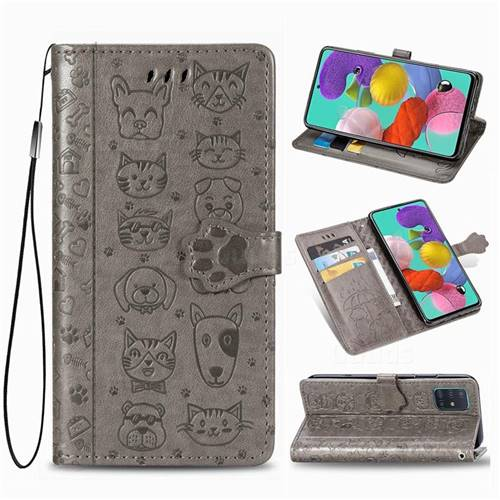 Embossing Dog Paw Kitten and Puppy Leather Wallet Case for Samsung Galaxy A51 4G - Gray