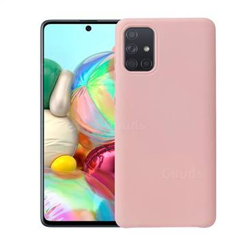 Howmak Slim Liquid Silicone Rubber Shockproof Phone Case Cover for Samsung Galaxy A51 - Pink