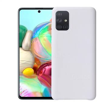 Howmak Slim Liquid Silicone Rubber Shockproof Phone Case Cover for Samsung Galaxy A51 - White