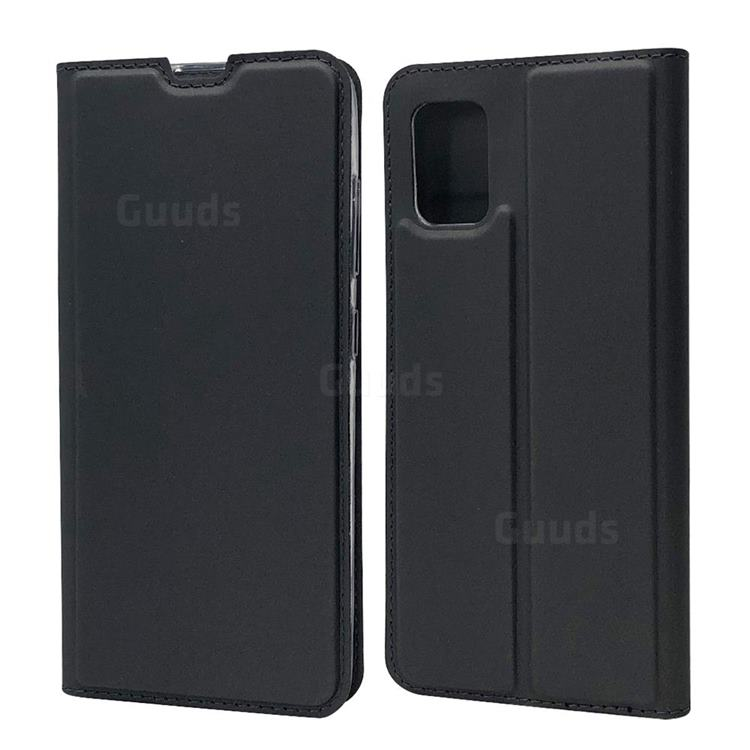 Ultra Slim Card Magnetic Automatic Suction Leather Wallet Case for Samsung Galaxy A51 4G - Star Grey