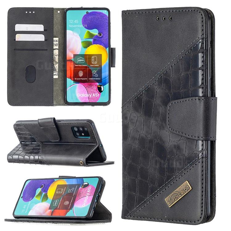 BinfenColor BF04 Color Block Stitching Crocodile Leather Case Cover for Samsung Galaxy A51 - Black