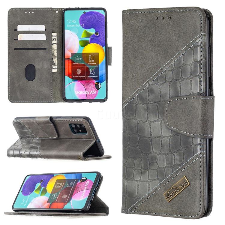 BinfenColor BF04 Color Block Stitching Crocodile Leather Case Cover for Samsung Galaxy A51 - Gray