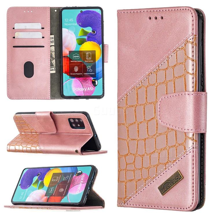 BinfenColor BF04 Color Block Stitching Crocodile Leather Case Cover for Samsung Galaxy A51 - Rose Gold