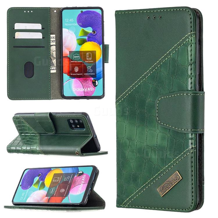 BinfenColor BF04 Color Block Stitching Crocodile Leather Case Cover for Samsung Galaxy A51 - Green
