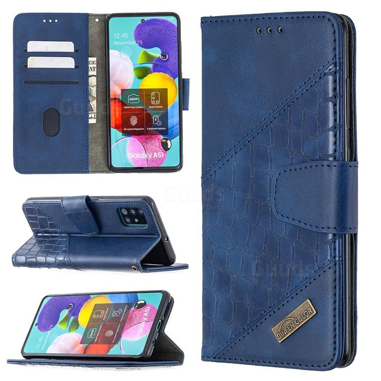 BinfenColor BF04 Color Block Stitching Crocodile Leather Case Cover for Samsung Galaxy A51 - Blue