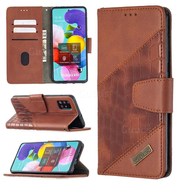 BinfenColor BF04 Color Block Stitching Crocodile Leather Case Cover for Samsung Galaxy A51 - Brown