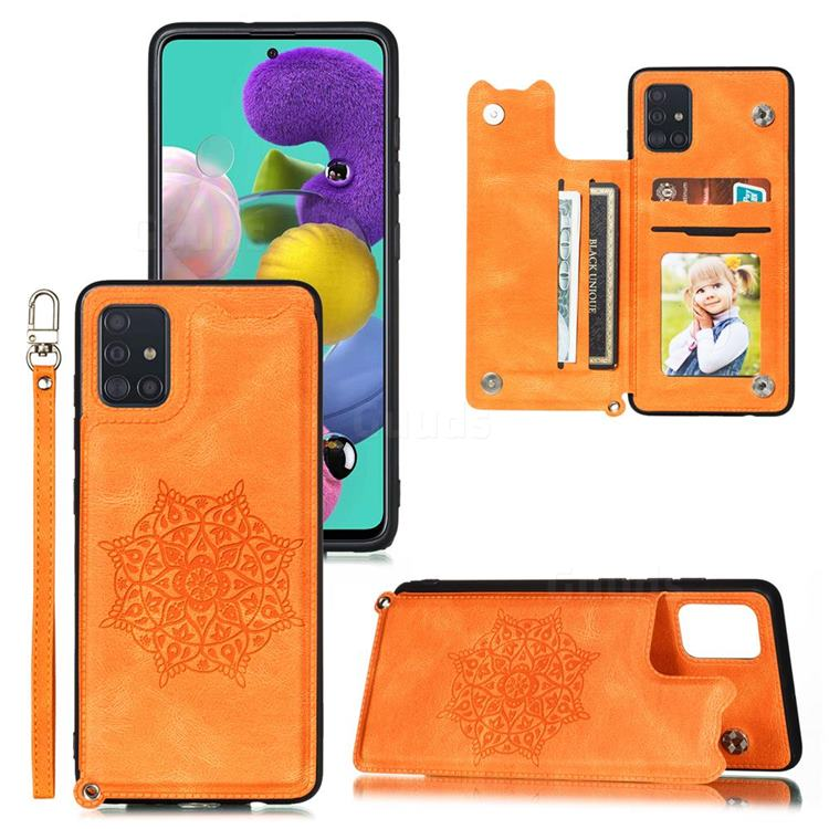 Luxury Mandala Multi-function Magnetic Card Slots Stand Leather Back Cover for Samsung Galaxy A51 - Yellow
