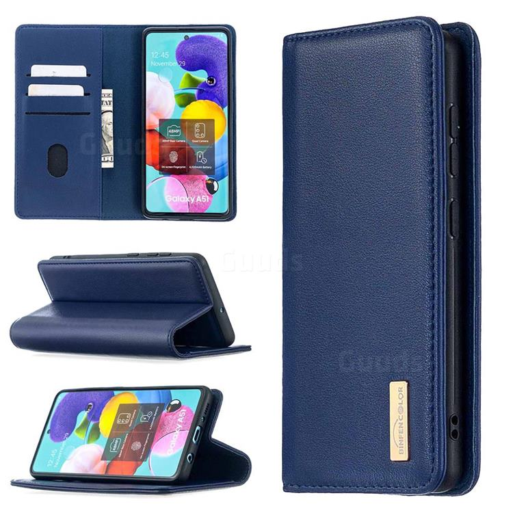Binfen Color BF06 Luxury Classic Genuine Leather Detachable Magnet Holster Cover for Samsung Galaxy A51 - Blue