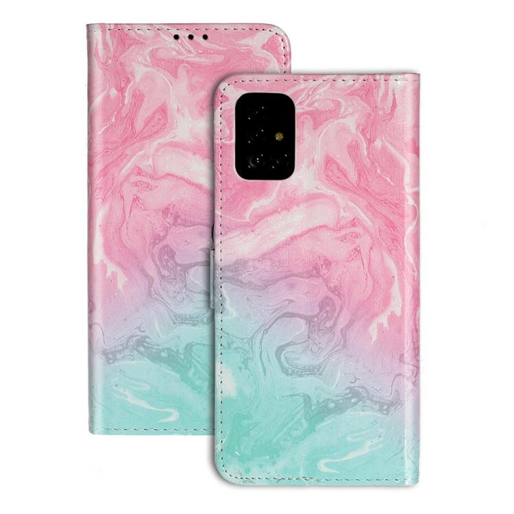 Pink Green Marble PU Leather Wallet Case for Samsung Galaxy A51 4G