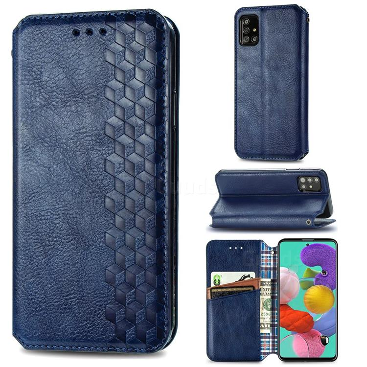 Ultra Slim Fashion Business Card Magnetic Automatic Suction Leather Flip Cover for Samsung Galaxy A51 4G - Dark Blue