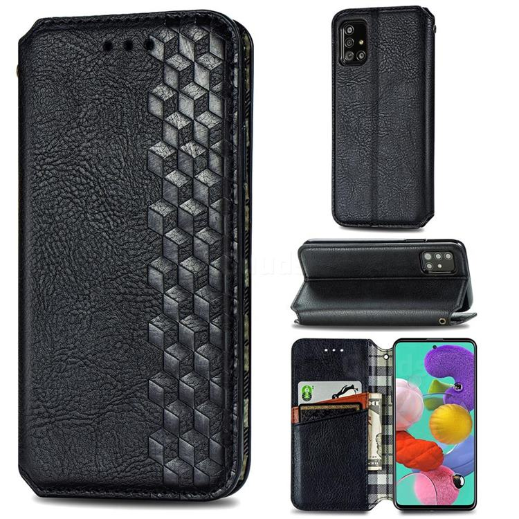 Ultra Slim Fashion Business Card Magnetic Automatic Suction Leather Flip Cover for Samsung Galaxy A51 4G - Black