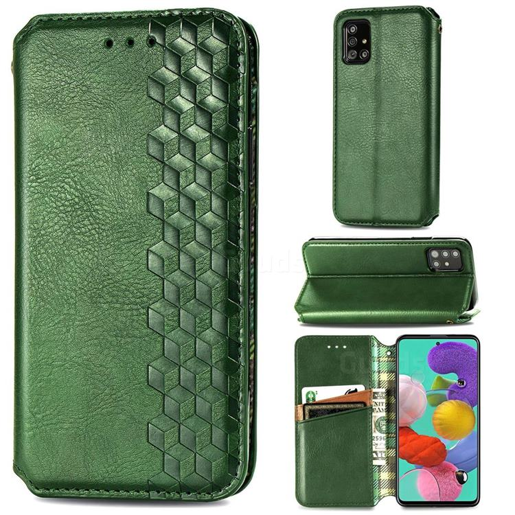 Ultra Slim Fashion Business Card Magnetic Automatic Suction Leather Flip Cover for Samsung Galaxy A51 4G - Green