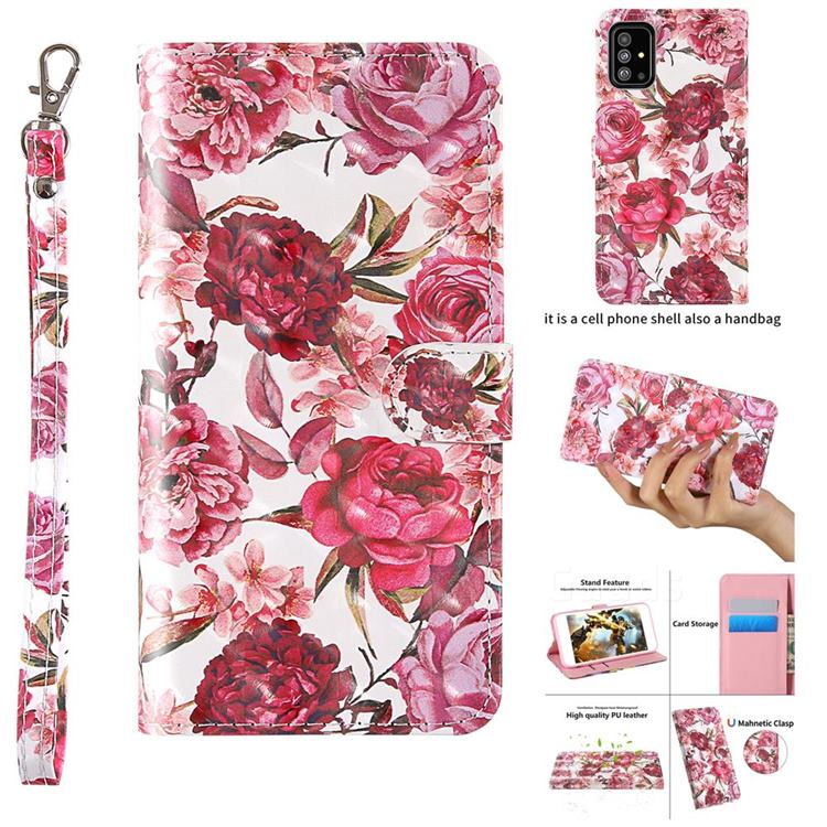 Red Flower 3D Painted Leather Wallet Case for Samsung Galaxy A51 4G