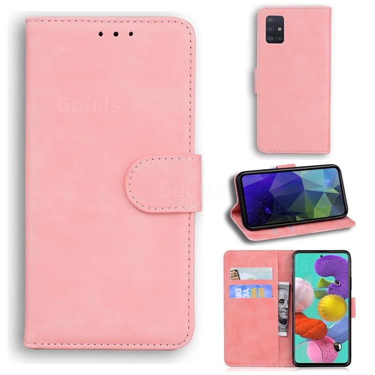 Retro Classic Skin Feel Leather Wallet Phone Case for Samsung Galaxy A51 4G - Pink
