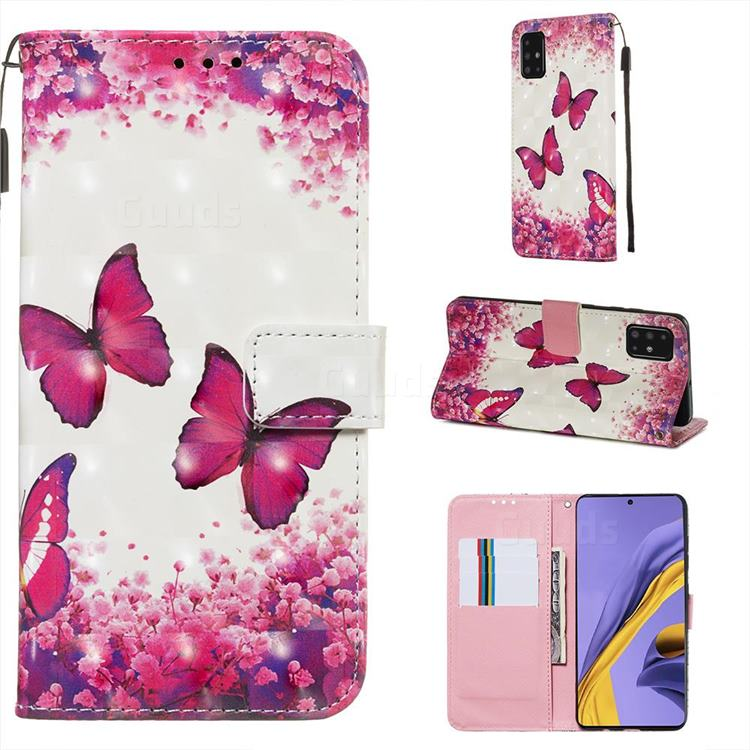 Rose Butterfly 3D Painted Leather Wallet Case for Samsung Galaxy A51 4G