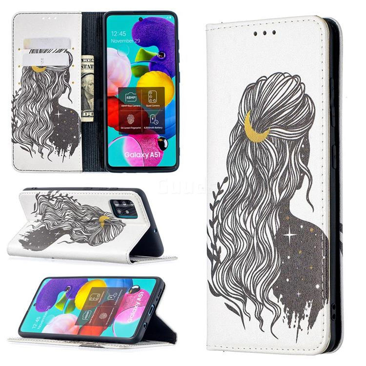 Girl with Long Hair Slim Magnetic Attraction Wallet Flip Cover for Samsung Galaxy A51 4G