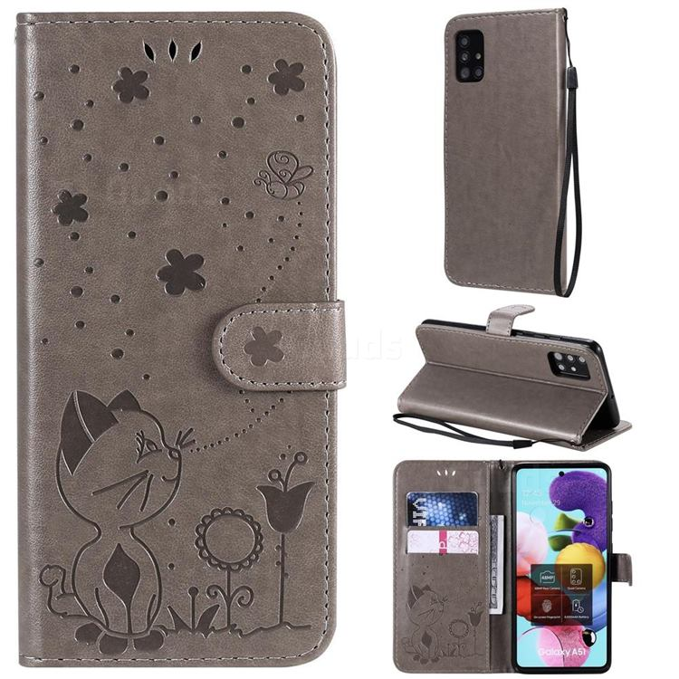 Embossing Bee and Cat Leather Wallet Case for Samsung Galaxy A51 4G - Gray