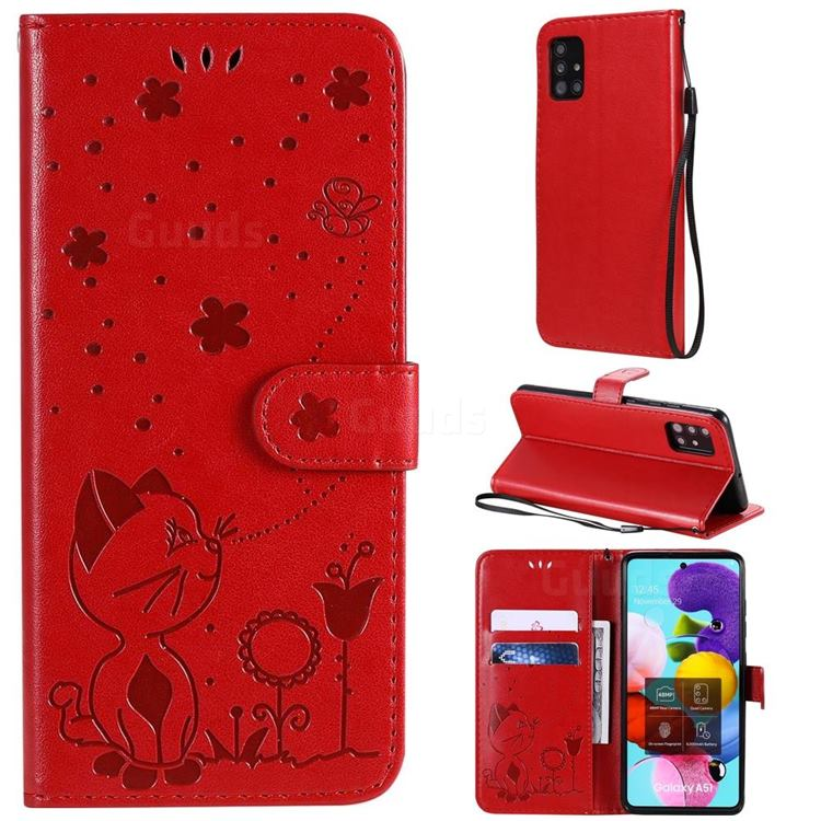 Embossing Bee and Cat Leather Wallet Case for Samsung Galaxy A51 4G - Red