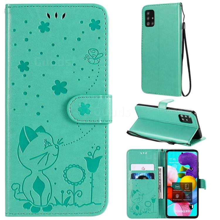 Embossing Bee and Cat Leather Wallet Case for Samsung Galaxy A51 4G - Green