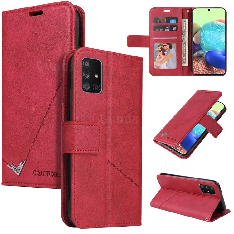 GQ.UTROBE Right Angle Silver Pendant Leather Wallet Phone Case for Samsung Galaxy A51 4G - Red
