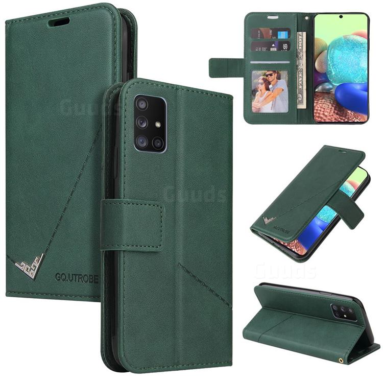 GQ.UTROBE Right Angle Silver Pendant Leather Wallet Phone Case for Samsung Galaxy A51 4G - Green