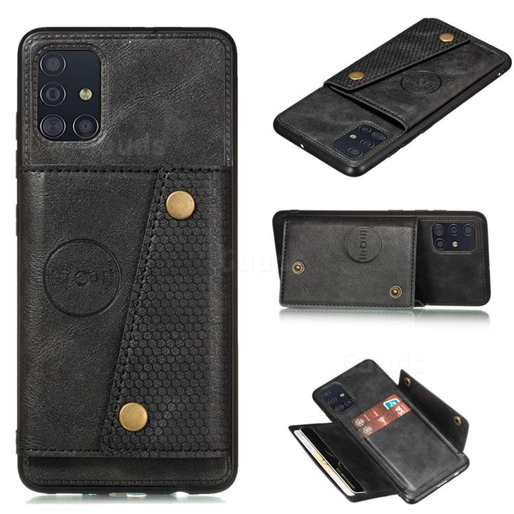 Retro Multifunction Card Slots Stand Leather Coated Phone Back Cover for Samsung Galaxy A51 4G - Black