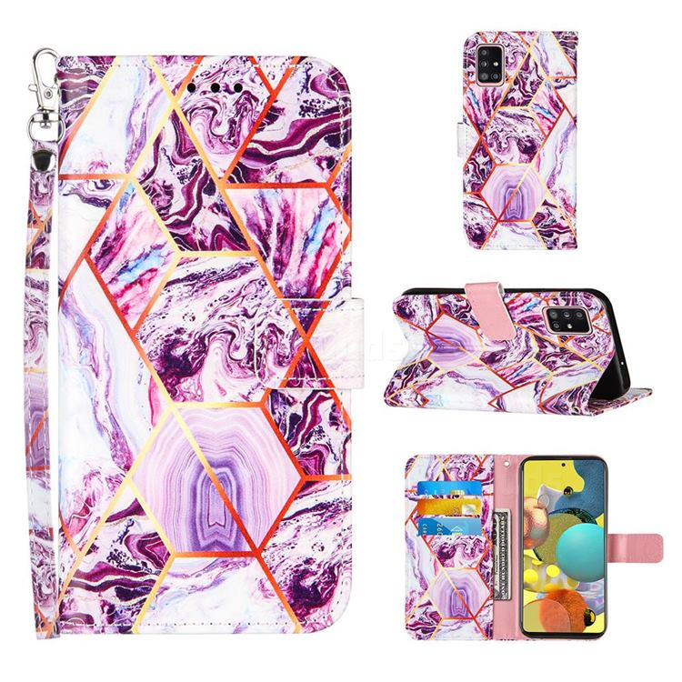 Dream Purple Stitching Color Marble Leather Wallet Case for Samsung Galaxy A51 4G