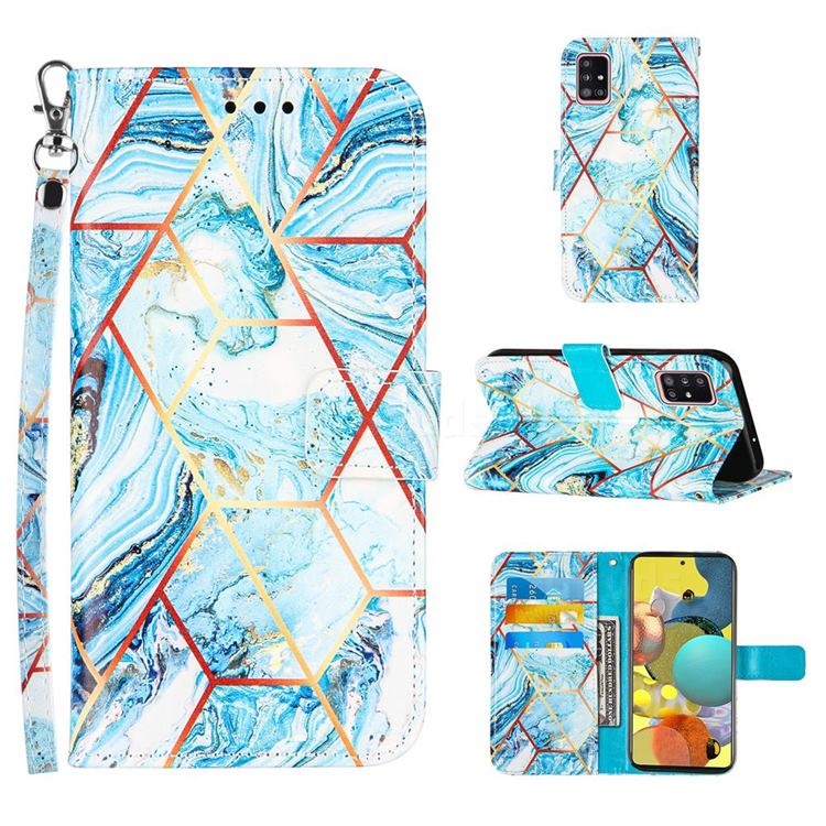 Lake Blue Stitching Color Marble Leather Wallet Case for Samsung Galaxy A51 4G