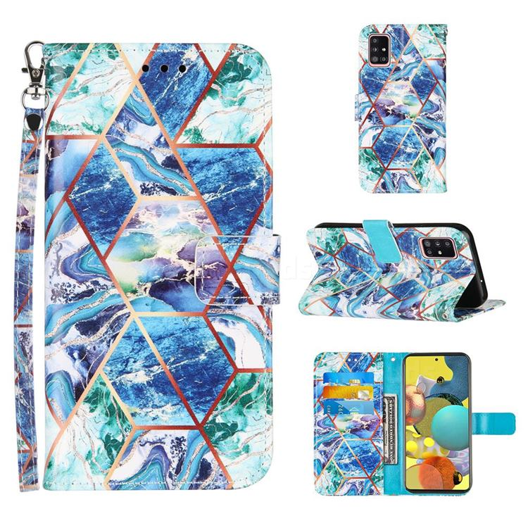 Green and Blue Stitching Color Marble Leather Wallet Case for Samsung Galaxy A51 4G