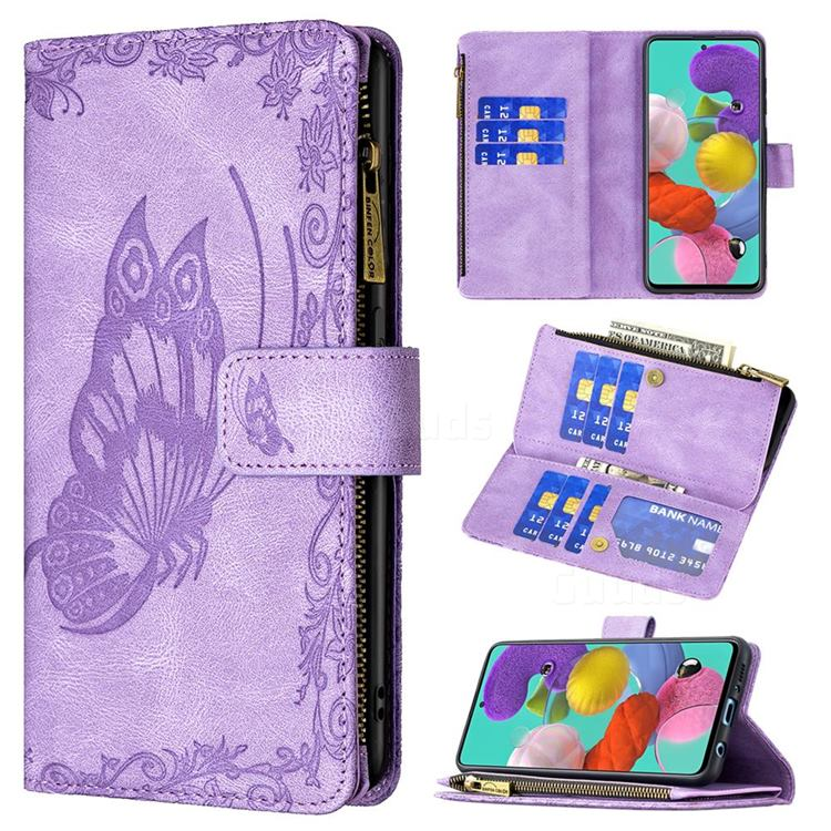 Binfen Color Imprint Vivid Butterfly Buckle Zipper Multi-function Leather Phone Wallet for Samsung Galaxy A51 4G - Purple