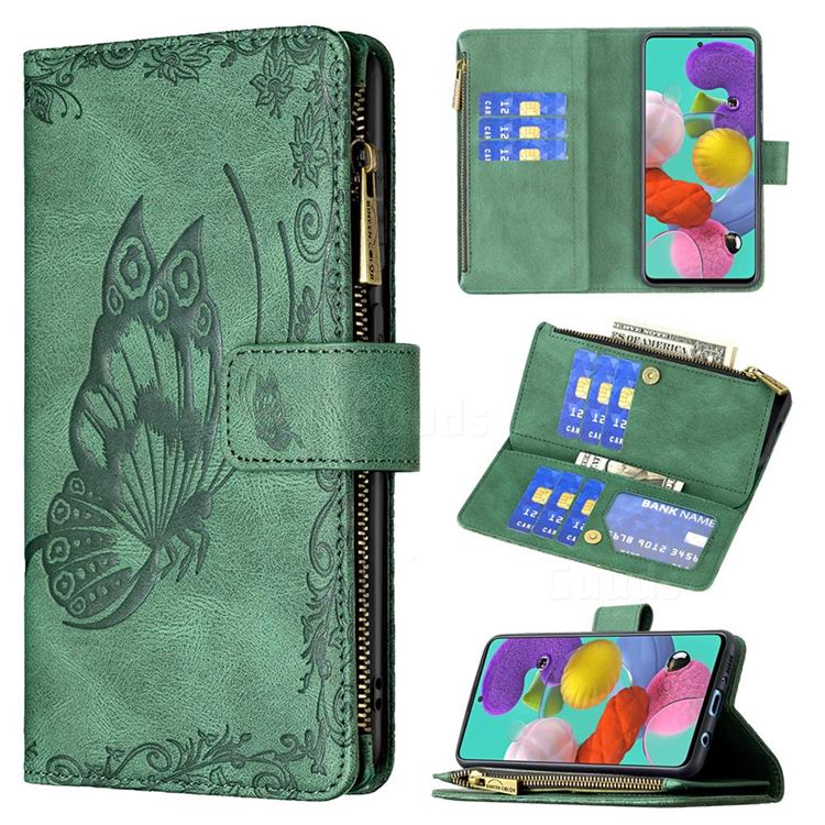Binfen Color Imprint Vivid Butterfly Buckle Zipper Multi-function Leather Phone Wallet for Samsung Galaxy A51 4G - Green