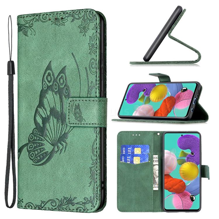 Binfen Color Imprint Vivid Butterfly Leather Wallet Case for Samsung Galaxy A51 4G - Green