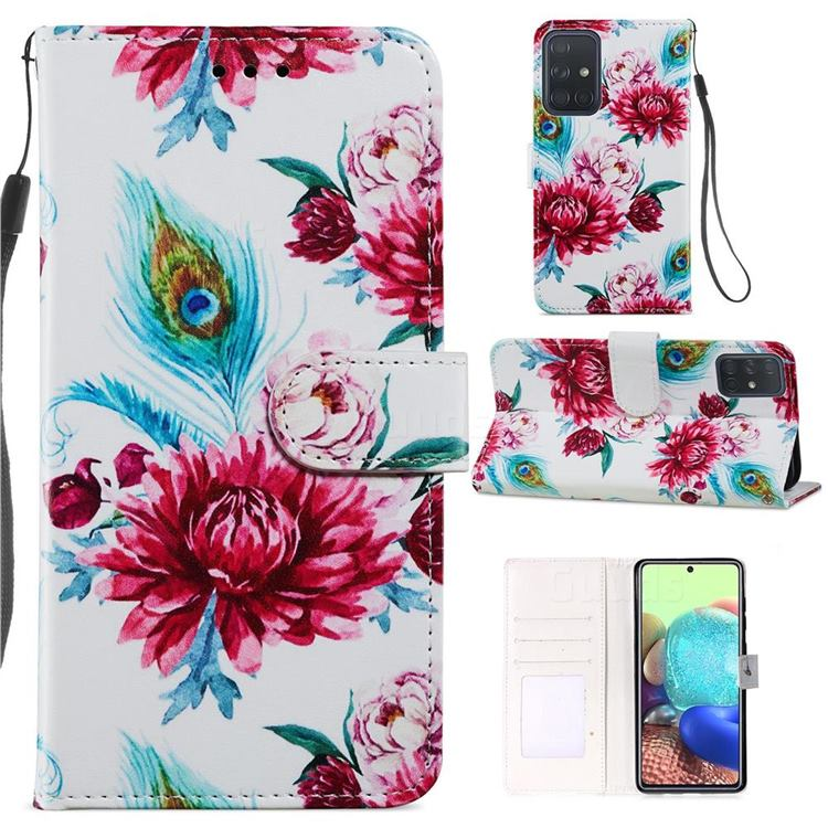 Peacock Flower Smooth Leather Phone Wallet Case for Samsung Galaxy A51 4G