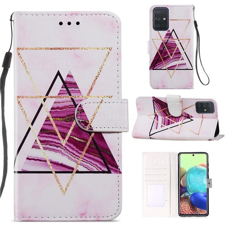 Three-color Marble Smooth Leather Phone Wallet Case for Samsung Galaxy A51 4G