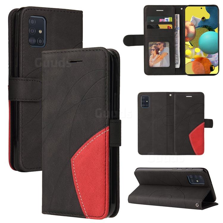Luxury Two-color Stitching Leather Wallet Case Cover for Samsung Galaxy A51 4G - Black