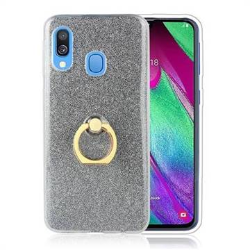 Luxury Soft TPU Glitter Back Ring Cover with 360 Rotate Finger Holder Buckle for Samsung Galaxy A60 - Black