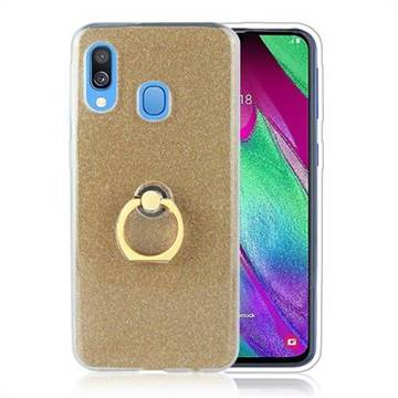 Luxury Soft TPU Glitter Back Ring Cover with 360 Rotate Finger Holder Buckle for Samsung Galaxy A60 - Golden