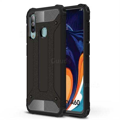 King Kong Armor Premium Shockproof Dual Layer Rugged Hard Cover for Samsung Galaxy A60 - Black Gold