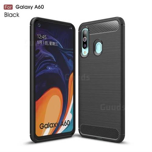 Luxury Carbon Fiber Brushed Wire Drawing Silicone TPU Back Cover for Samsung Galaxy A60 - Black
