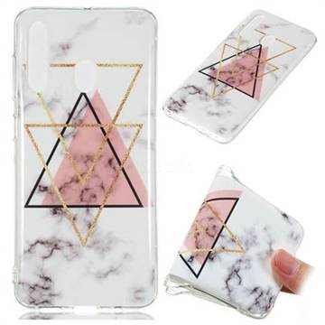 Inverted Triangle Powder Soft TPU Marble Pattern Phone Case for Samsung Galaxy A60