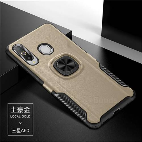 Knight Armor Anti Drop PC + Silicone Invisible Ring Holder Phone Cover for Samsung Galaxy A60 - Champagne
