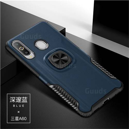 Knight Armor Anti Drop PC + Silicone Invisible Ring Holder Phone Cover for Samsung Galaxy A60 - Sapphire